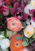 Bridal bouquet with peach ranunculus