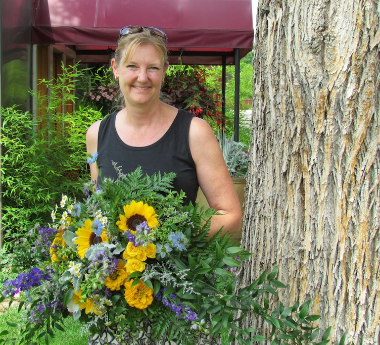 Kathy with sunflowers and love in a mist