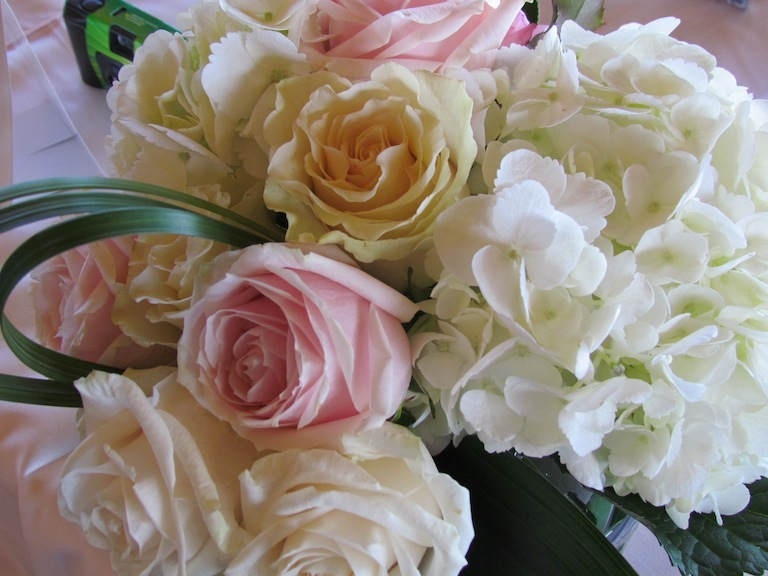 Bouquet of White Hydrangea and Pink Roses