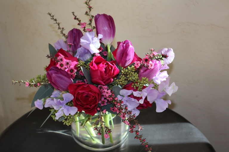 David Austin Roses with Sweet Peas  $65.00