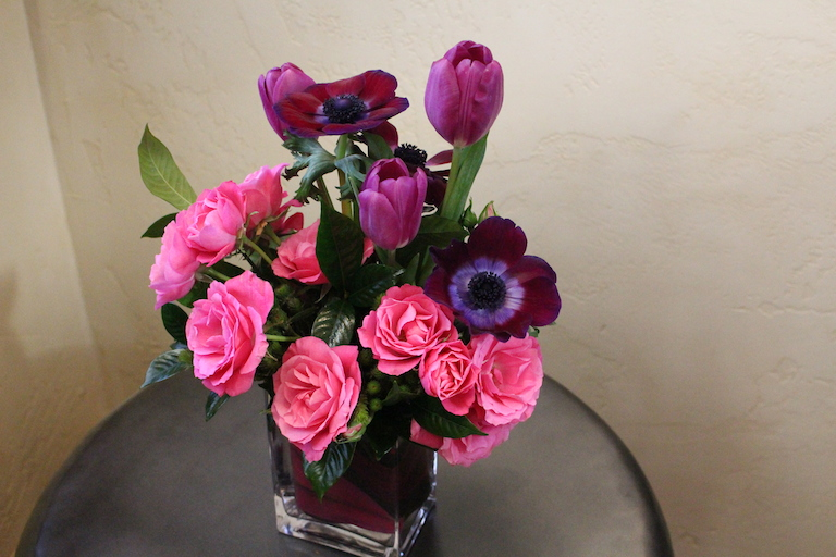 pink spray roses and purple anemone Valentine Arrangement