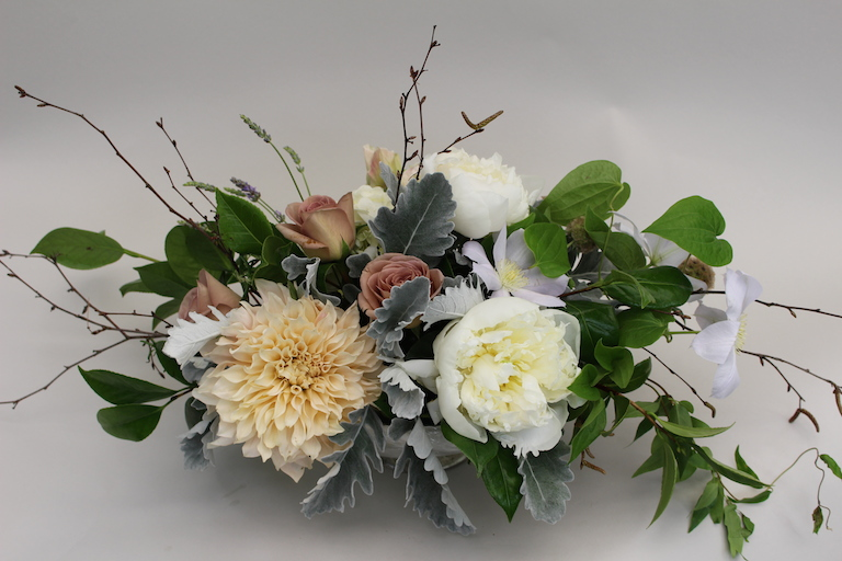 Wedding Centerpiece with White Clematis