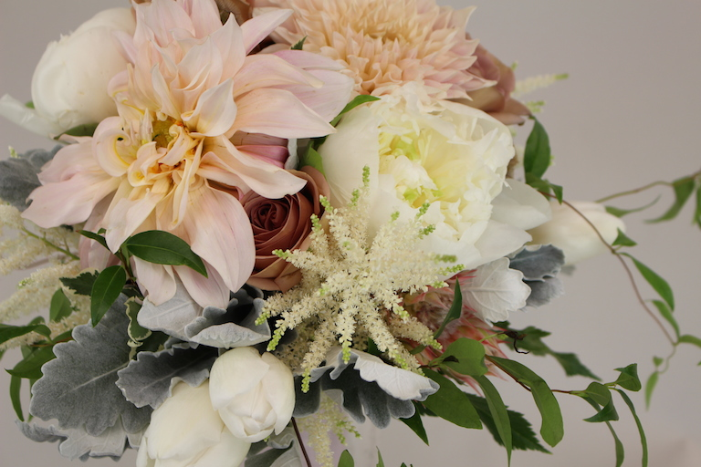 Bridal bouquet with dahlias and white clematis