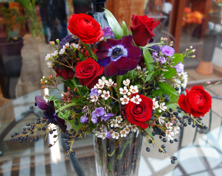 Red Roses with Berries and Anemone