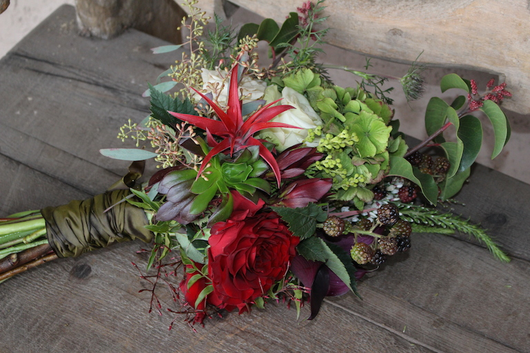 Tillandsia, Succulents and Red Rose Bridal Bouquet