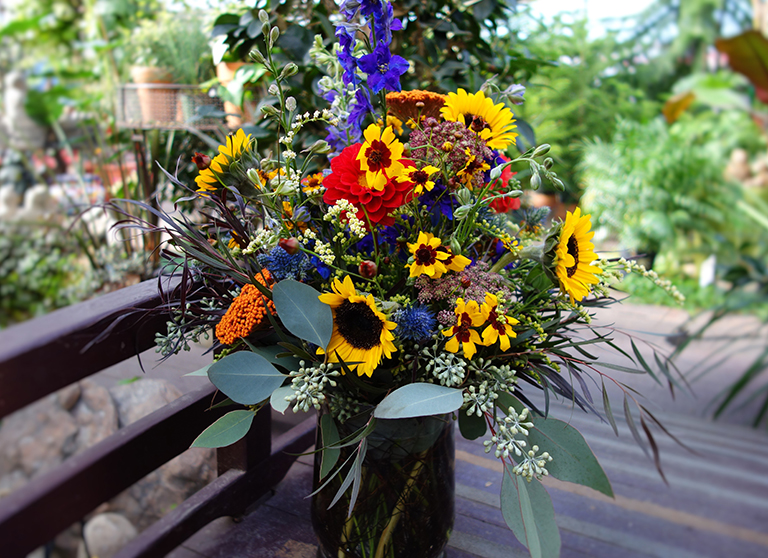 Sunflowers with Dahlias and Larkspur Boulder, CO