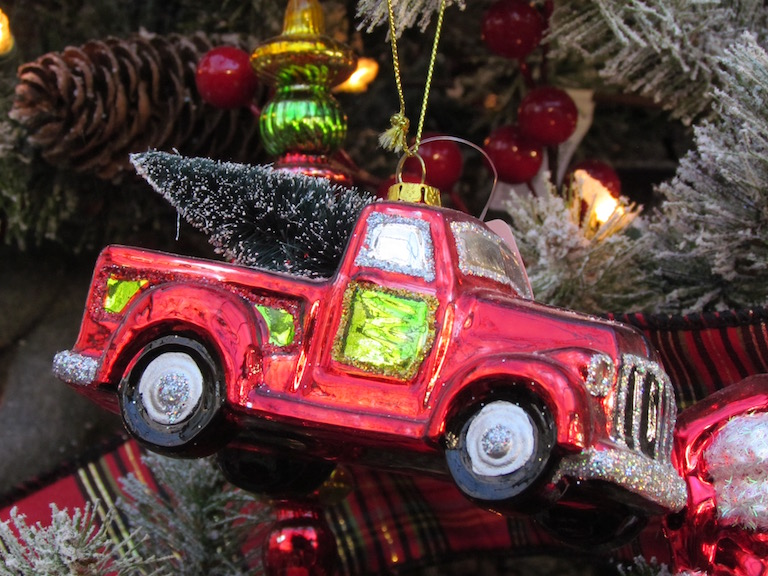 Red Glass Truck Ornament