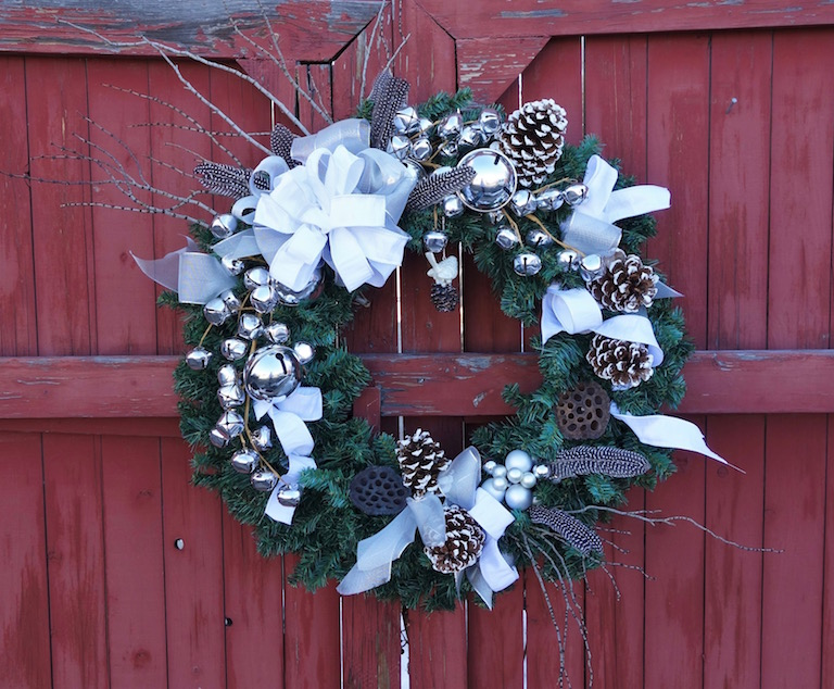 Fresh Evergreen Wreath with Silver Bells and Pheasant Feathers