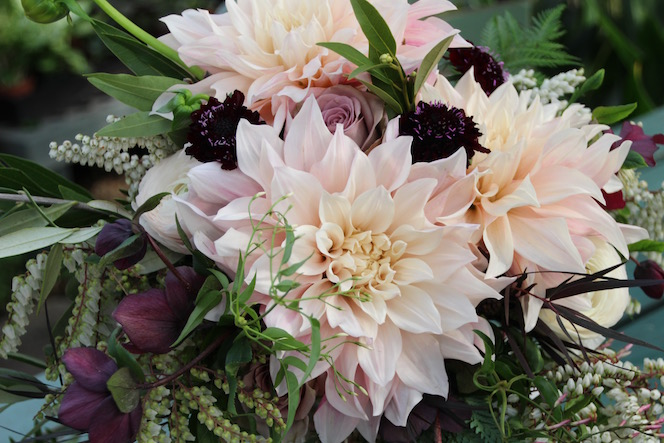 Wedding Bouquet with dahlias and antique roses