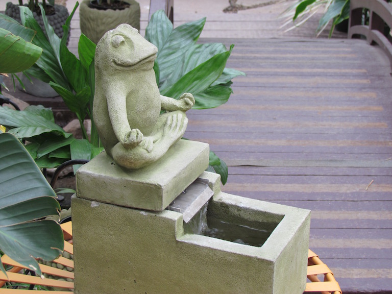 Yoga Frog Cement Fountain at Sturtz and Copeland