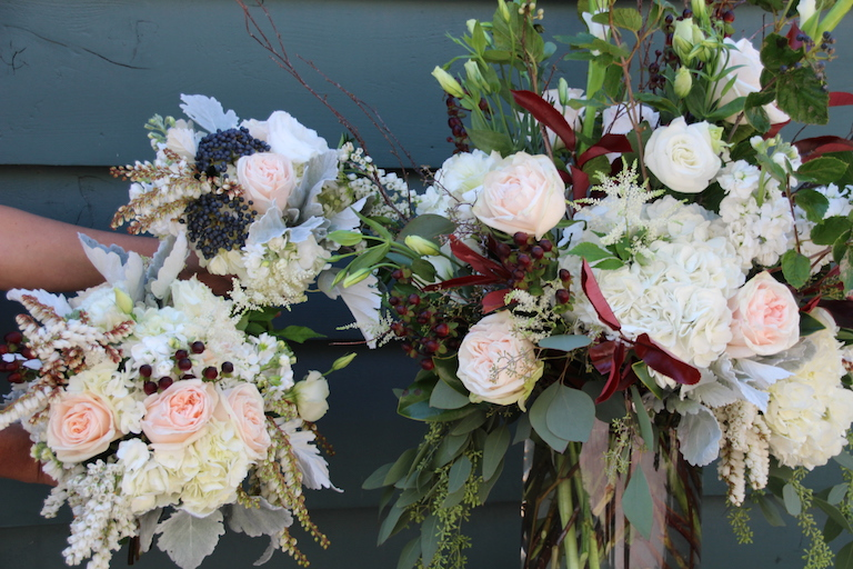 Wedding flowers with white hydrangea and dusty miller
