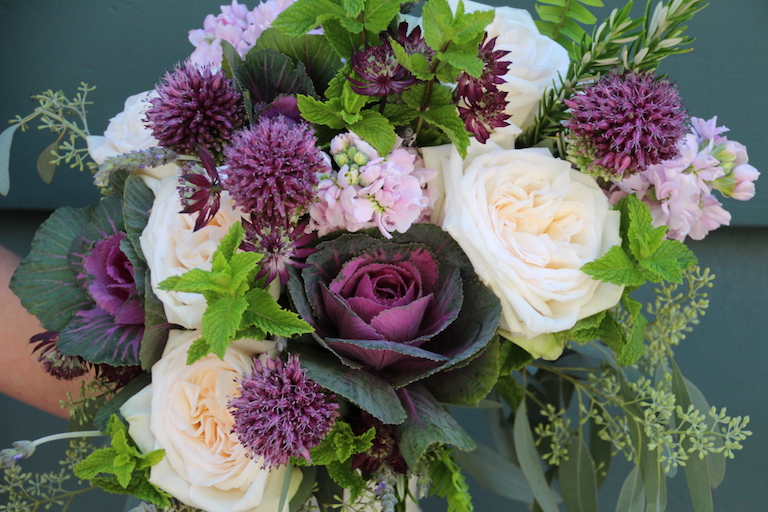 Bridal Bouquet with mint, roses, rosemary and ornamental kale