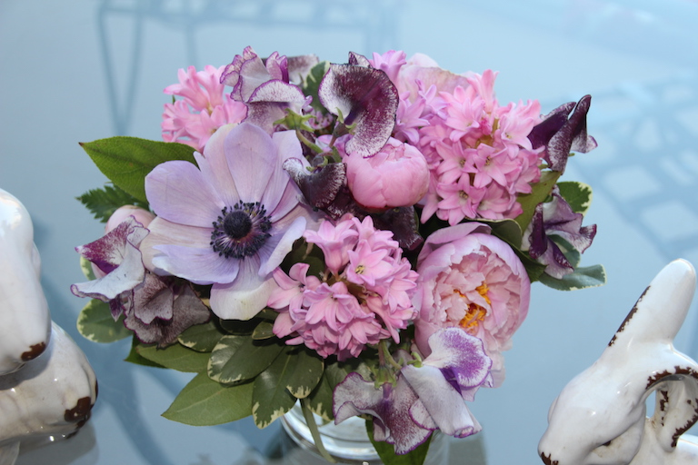 Hyacinth and Sweet Peas with Lavender Anemone