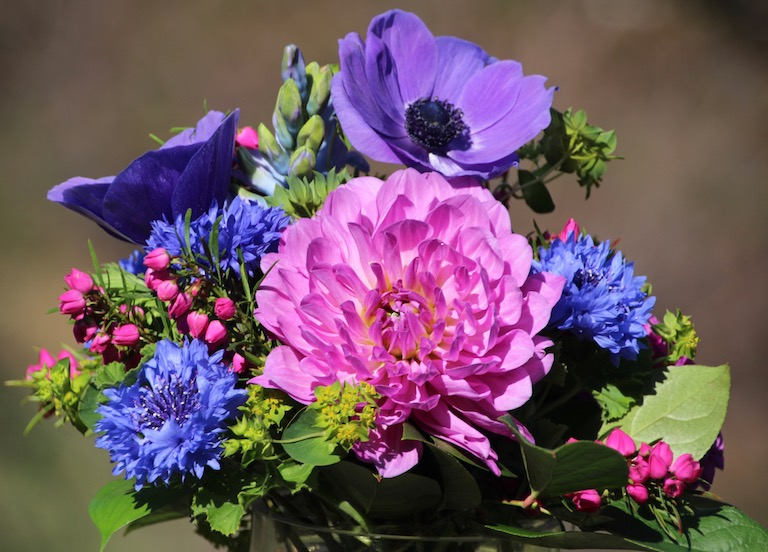 Bridal bouquet with lavender dahlias and blue bachelor buttons