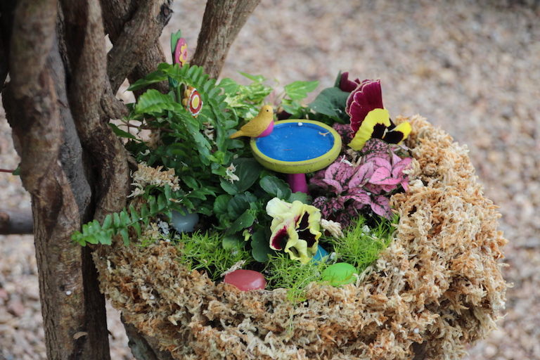 Miniature fairy garden bird bath