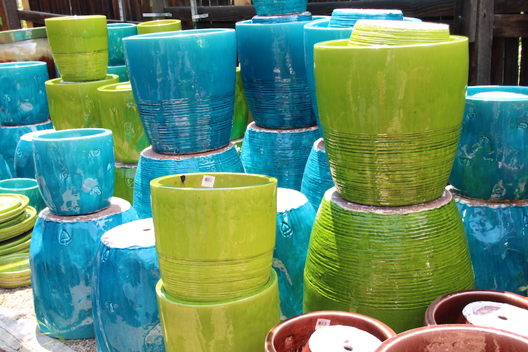Bright blue and green patio pots
