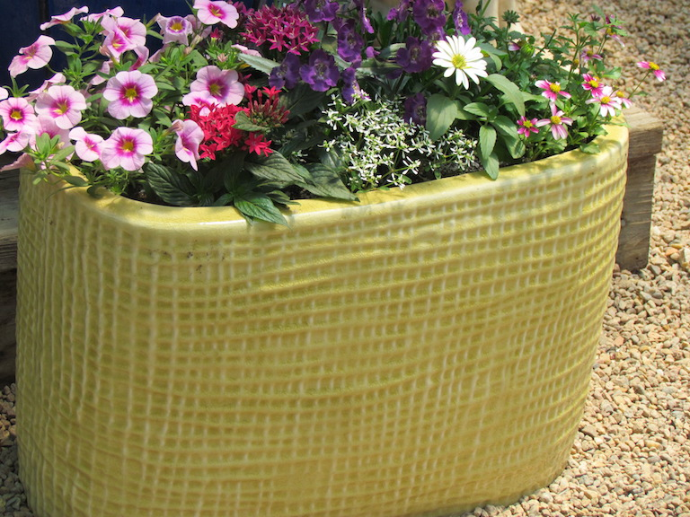 Patio pot with sunny annuals will bloom all summer