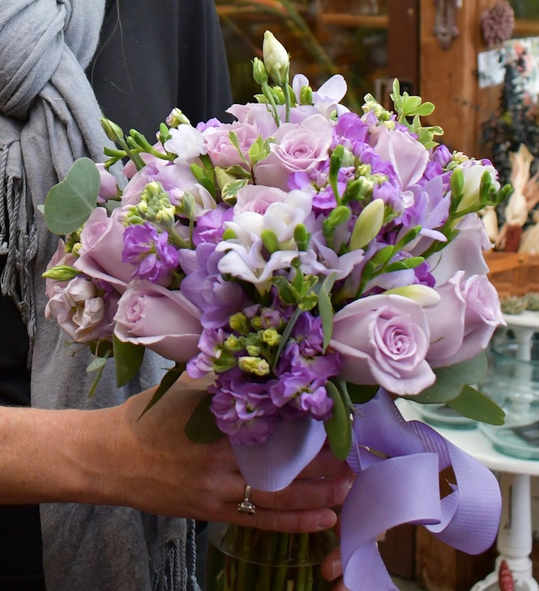 Bridal Bouquet with lavender roses, stock and freesias