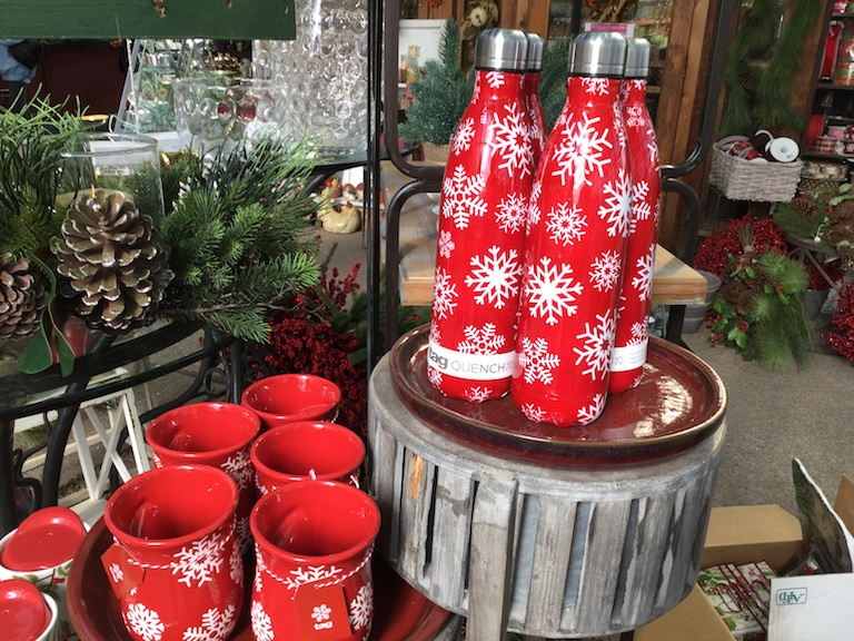 Red and White Snowflake Water Bottles