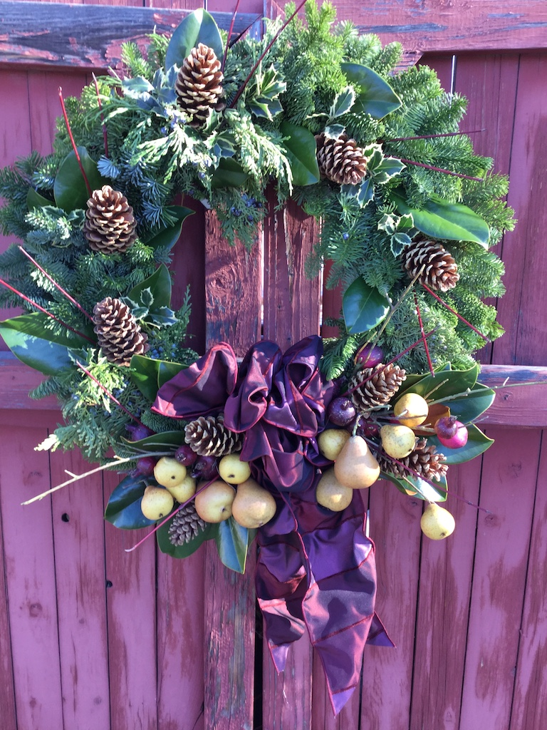 Wreath with pears and burgundy bow