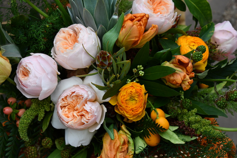 Tulips and peach roses