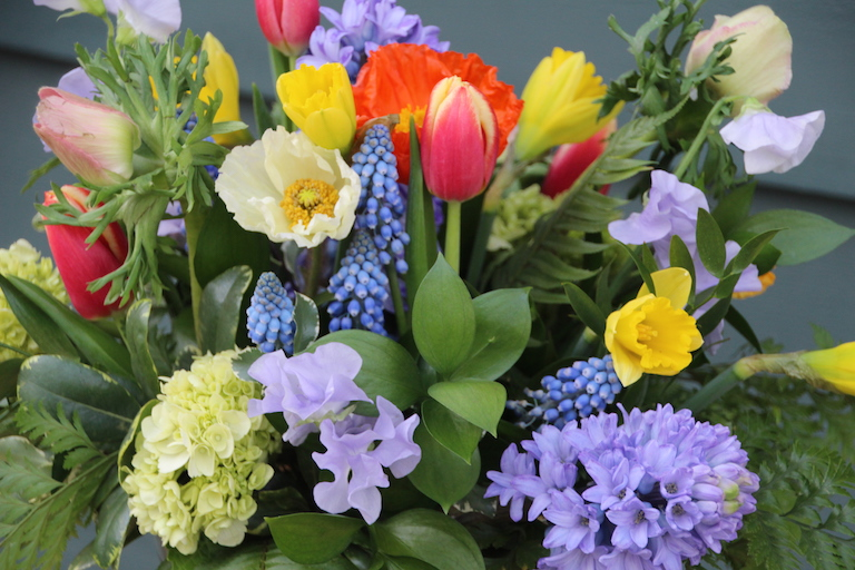 Mixed spring flowers with fragrant hyacinths