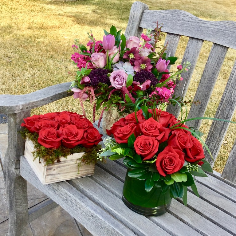 Three different rose arrangements