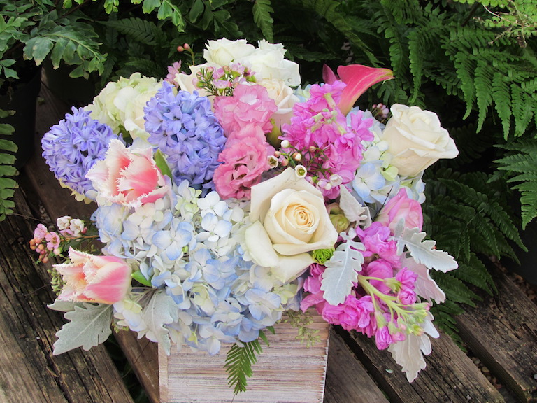 Pastel Hydrangeas and Hyacinths