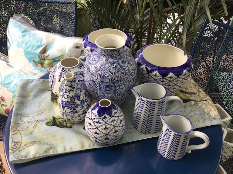 Blue and white ceramic vases