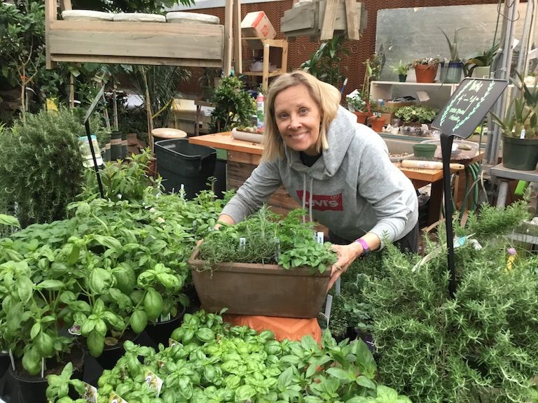 Sue with an herb garden for Mom