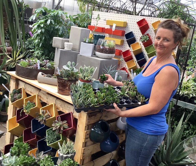Becca with succulent plugs in the greenhouse