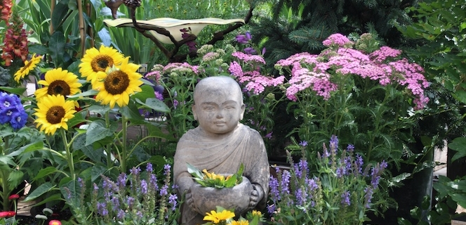 Buddha Statue and Bird Bath in the Garden Center