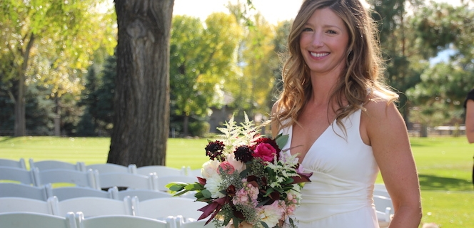 Bride with Fall Bridal Bouquet from Sturtz and Copeland